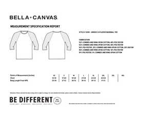 ital Virtues - 3200 Bella+Canvas Unisex 3/4 Sleeve Baseball Tee Size Chart