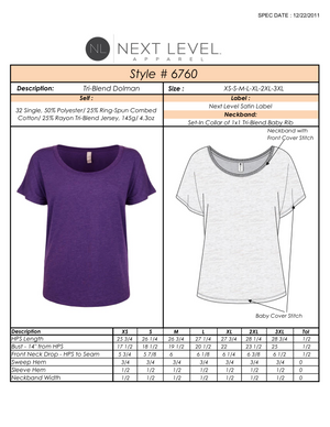 Vital Virtues - 6760 Next Level Apparel Women's Tri-Blend Dolman Size Chart