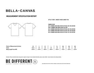 Respect Women - Bella+Canvas 3005 Unisex Jersey Short Sleeve V-Neck Tee Size Chart