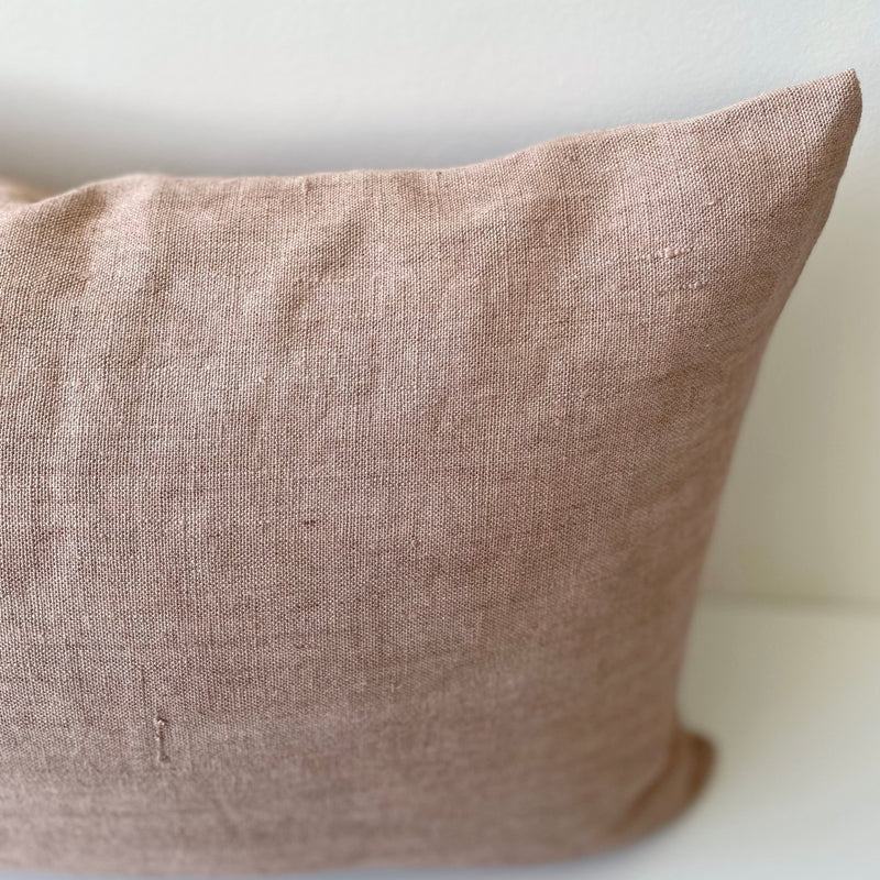 Madder Rose Solid Wash Hemp Lumbar Pillow