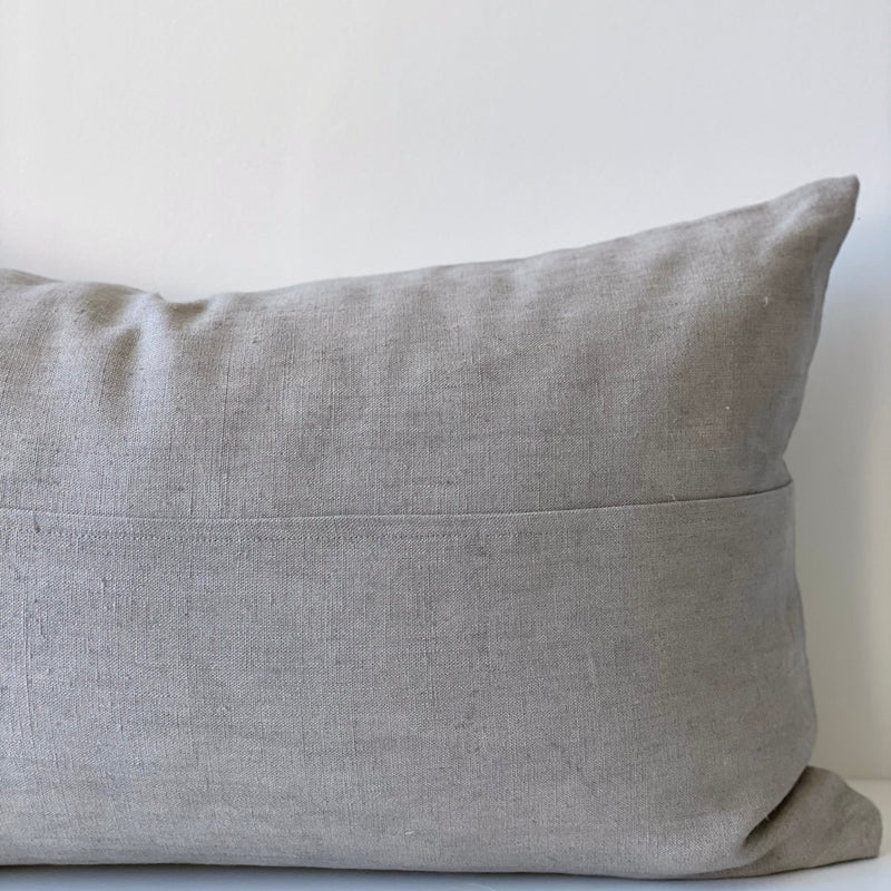 Cloud Grey Paneled Remnants Hemp Lumbar Pillow