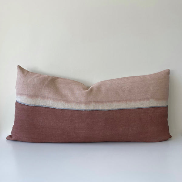 Madder Rose Colorblock with Metallic Silver Hemp Pillow