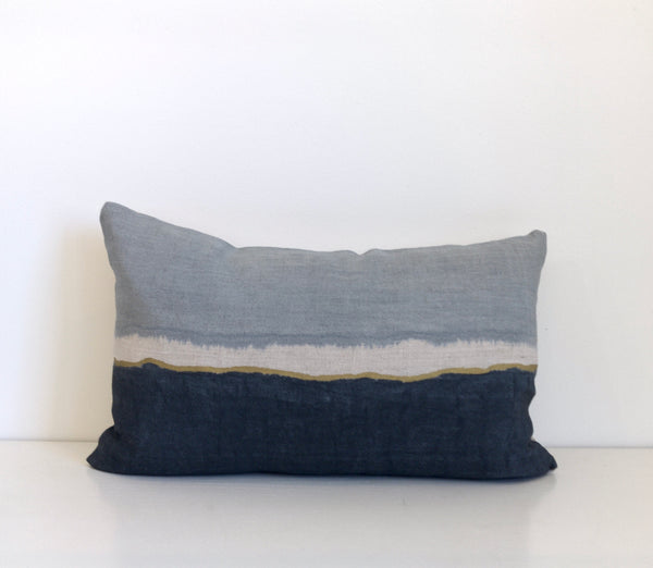 Surf Colorblock Lumbar Pillow with Metallic Gold