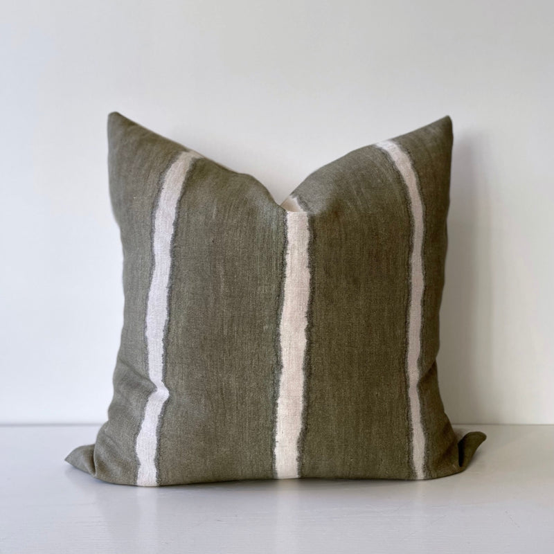 Olive Wide Striped Hemp Pillow