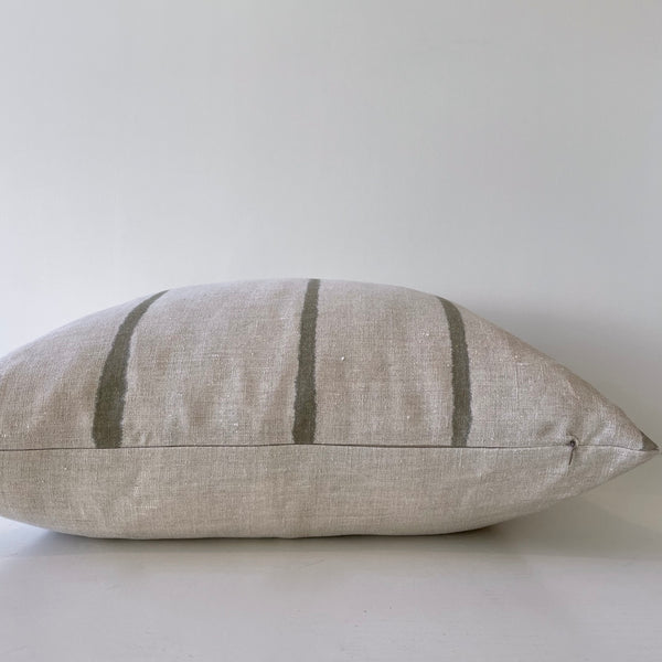Olive Thin Striped Hemp Pillow