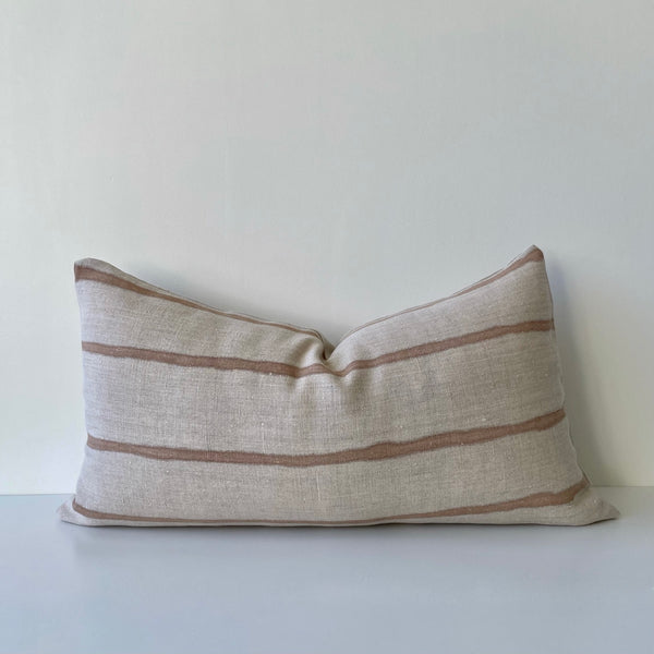 Clay Thin Striped Lumbar Pillow Cover