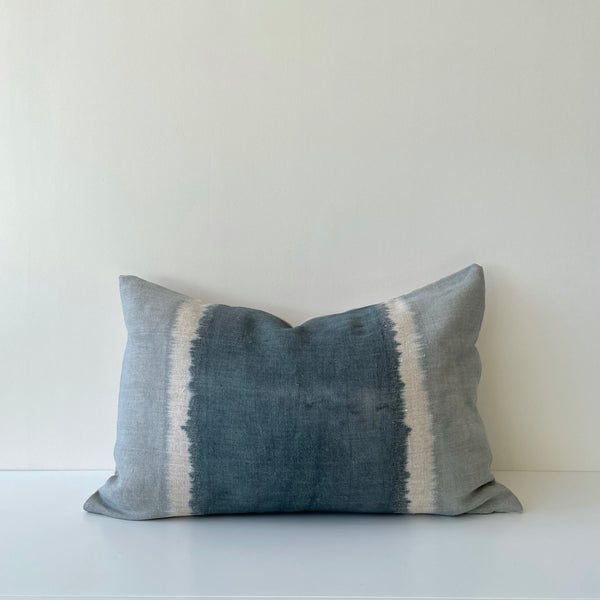 Ocean Blue Colorblock Hemp Lumbar Pillow