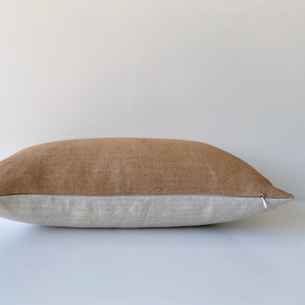 Amber Paneled Remnants Hemp Lumbar Pillow