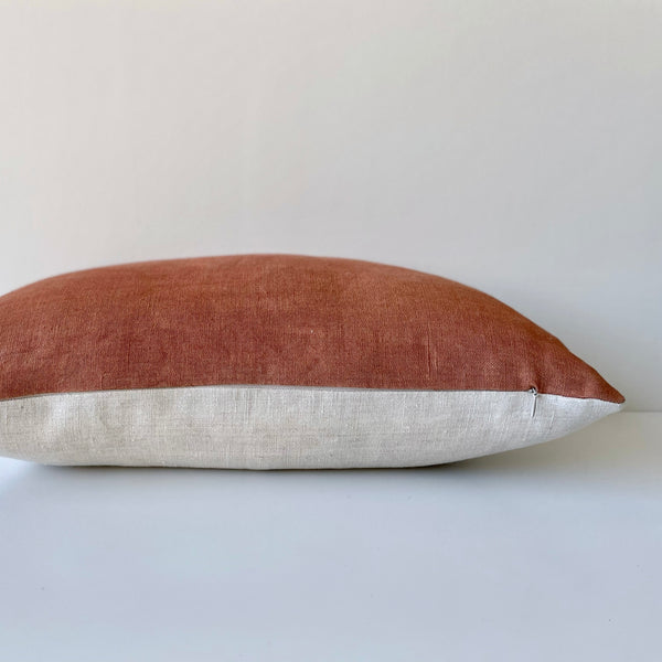 Sienna Dark Solid Wash Hemp Lumbar Pillow