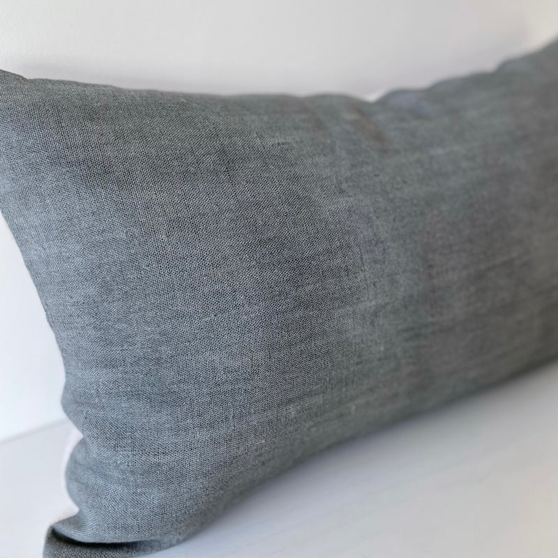 Surf Solid Wash Hemp Lumbar Pillow