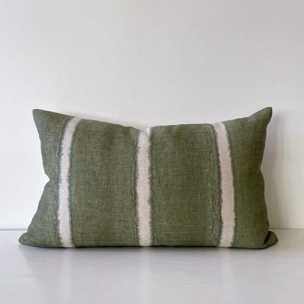 Moss Wide Stripe Lumbar Pillow