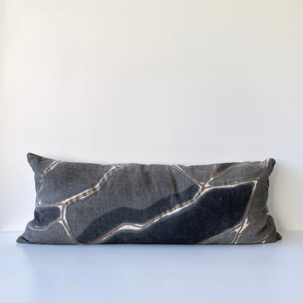 Charcoal Fragment Lumbar Pillow with Dark Bronze