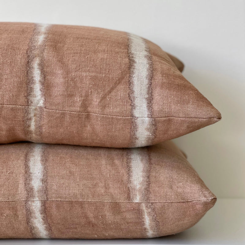 Clay Wide Stripe Lumbar Pillow Cover