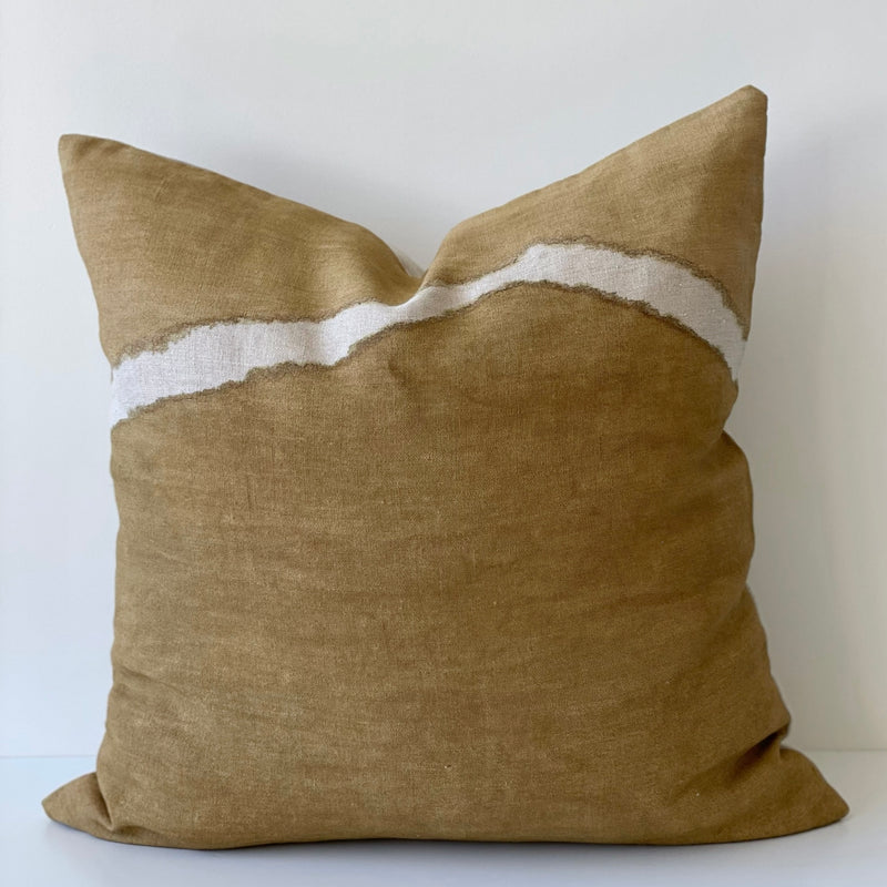 Ochre Two-Toned Ridge Hemp Pillow