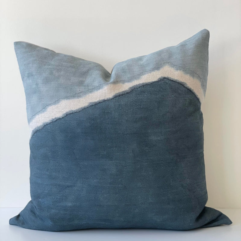 Ocean Blue Two-Toned Ridge Hemp Pillow