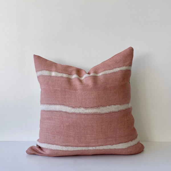 Rose Wide Striped Hemp Pillow