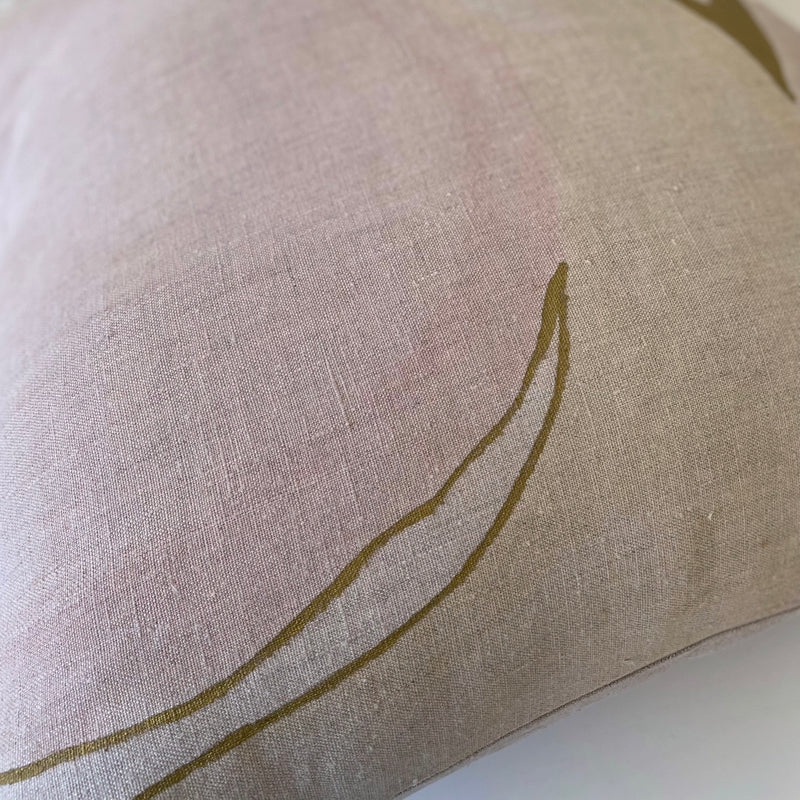 Soft Rose & Wheat with Gold Highlights Hemp Pillow