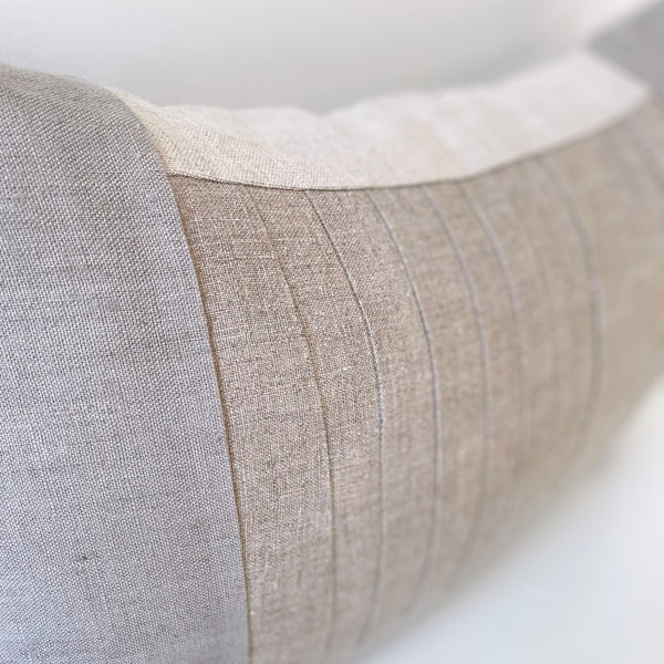 Cloud Grey & Natural Remnants Hemp Lumbar Pillow no. 1