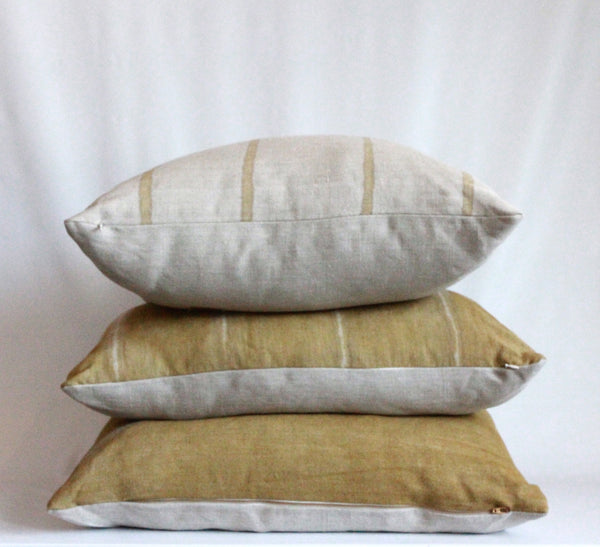 Ochre Thin Striped Hemp Pillow