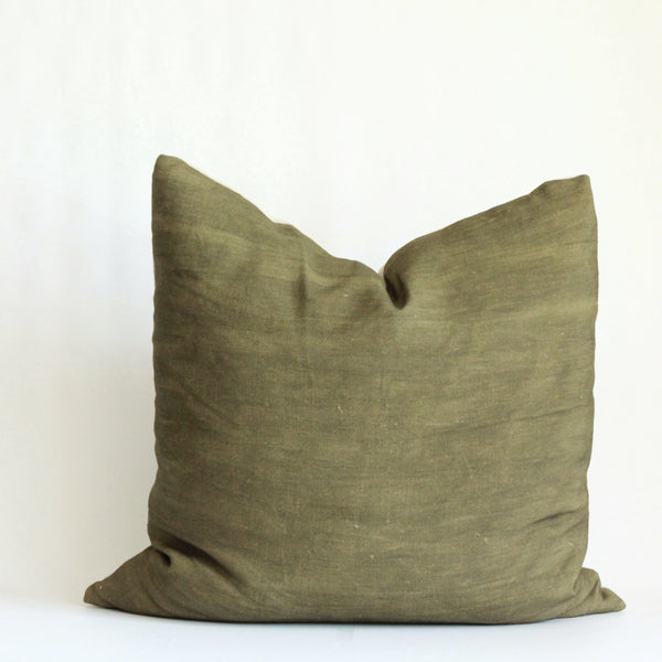 Olive Solid Wash Hemp Pillow