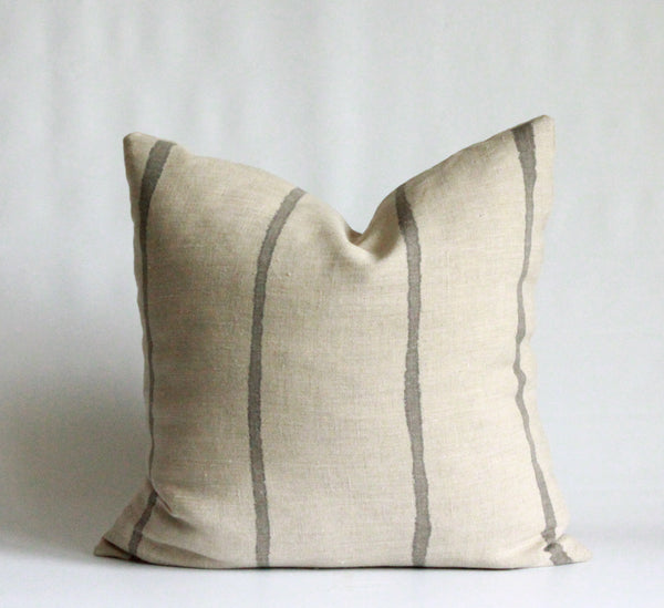 Charcoal Thin Striped Hemp Pillow