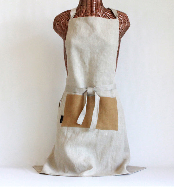 Bib Apron with Hand Painted Pockets