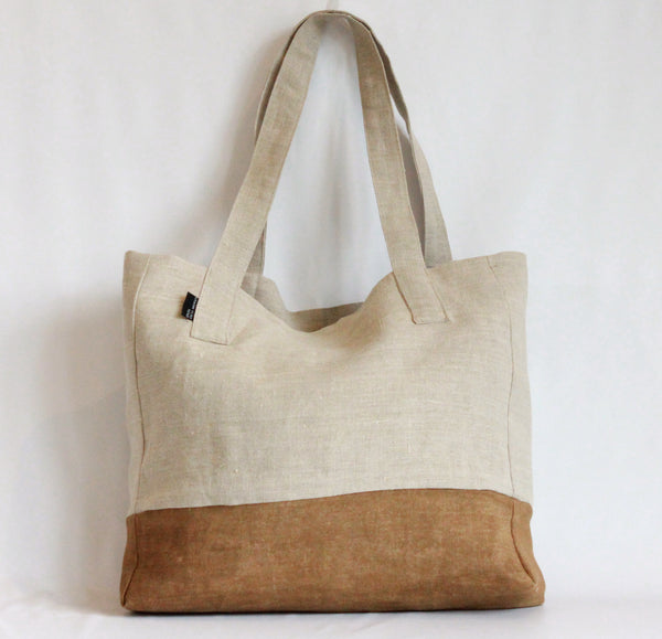 Hand Painted Colorblock Tote Bag