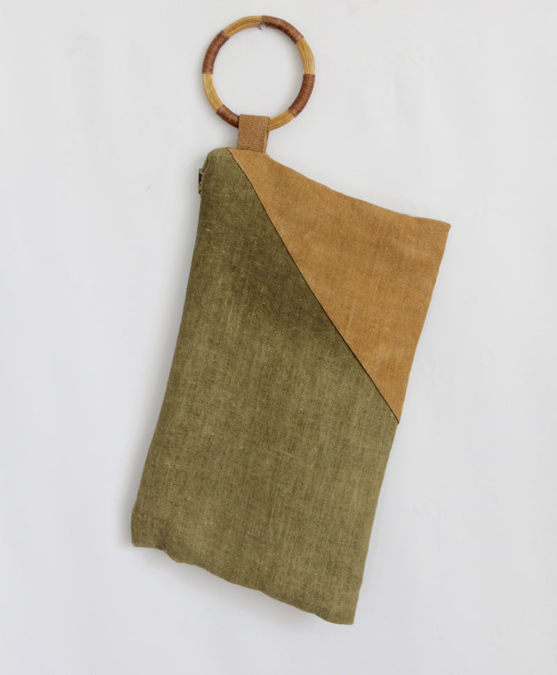 Hand Painted Ochre & Olive Colorblock Hemp Wristlet