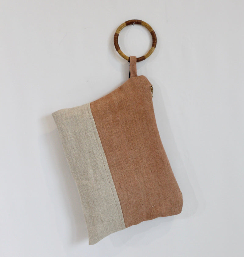 Hand Painted Sienna Hemp Wristlet