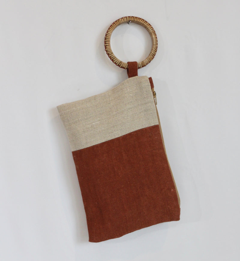 Hand Painted Colorblock Sienna Hemp Wristlet