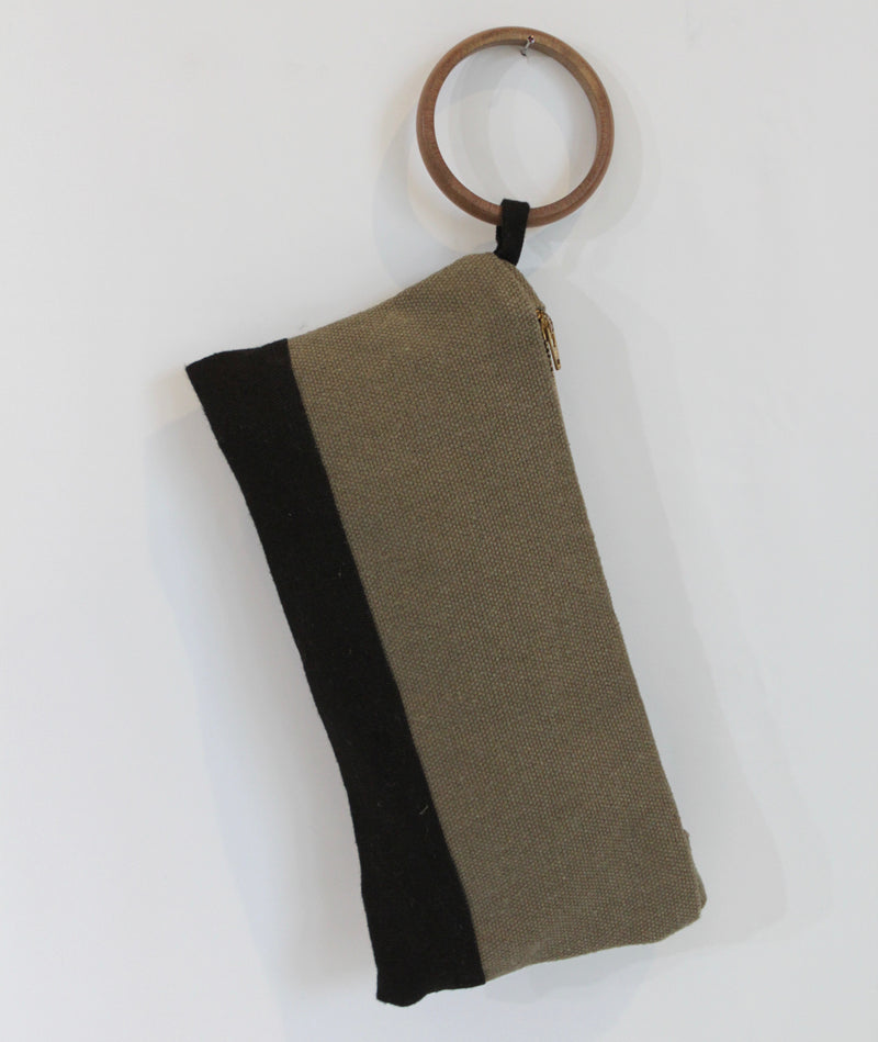 Colorblock Olive & Black Hemp Wristlet