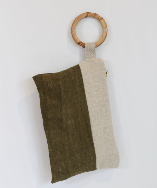 Hand Painted Olive Hemp Wristlet