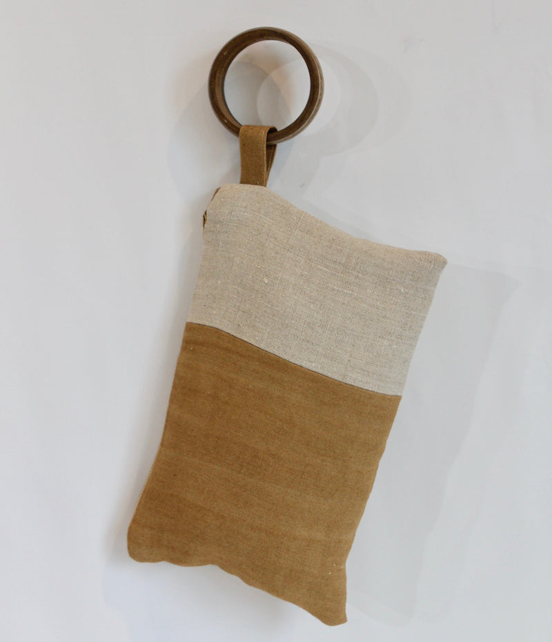 Hand Painted Colorblock Ochre Hemp Wristlet