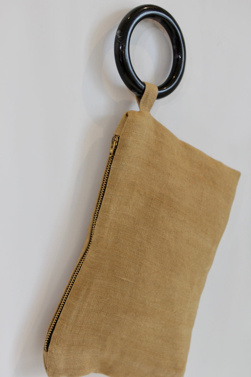 Hand Painted Ochre Wash Hemp Wristlet