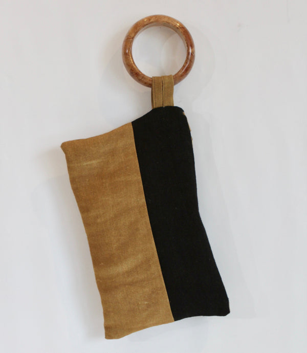 Hand Painted Ochre Colorblock Hemp Wristlet