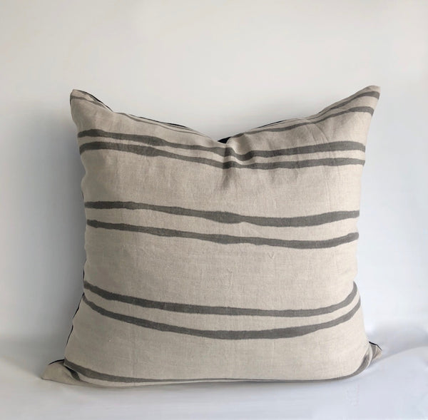 Charcoal Double Striped Greige Hemp Pillow Cover