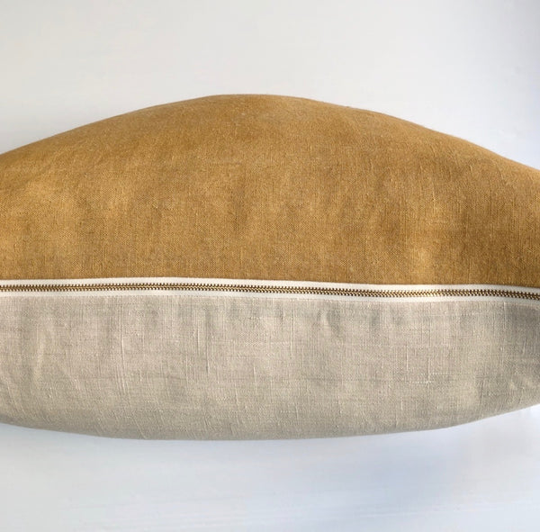 Ochre Solid Wash Hemp Pillow