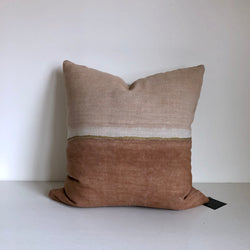 "Clay Colorblock with Metallic Gold 24x24"" Pillow Cover"
