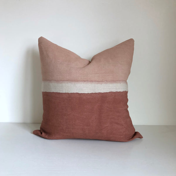 Madder Rose Colorblock Pillow Cover