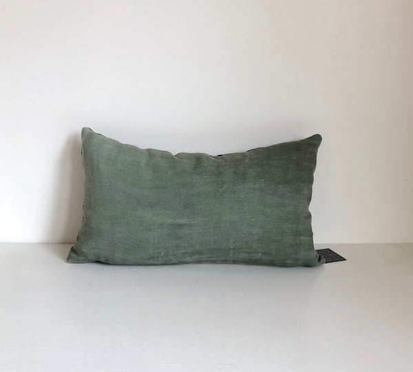 Moss Solid Wash Lumbar Pillow Cover