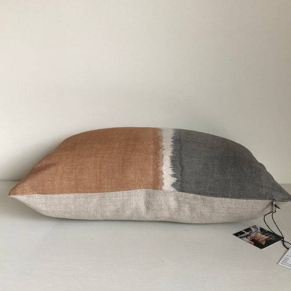 Amber & Charcoal Colorblock Lumbar Pillow Cover