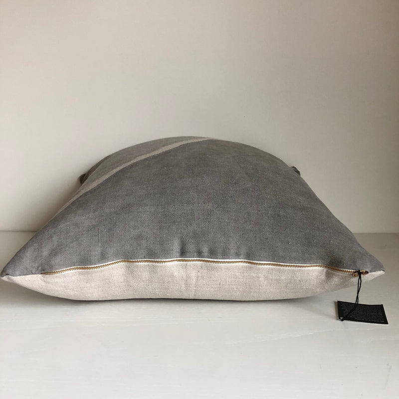 Cloud Grey Fault with Metallic Silver Pillow Cover