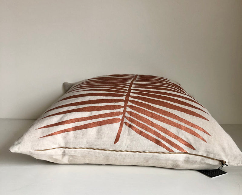 Copper Palm Pillow Cover