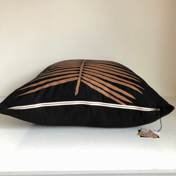 Copper Palm Pillow Cover on Black Hemp