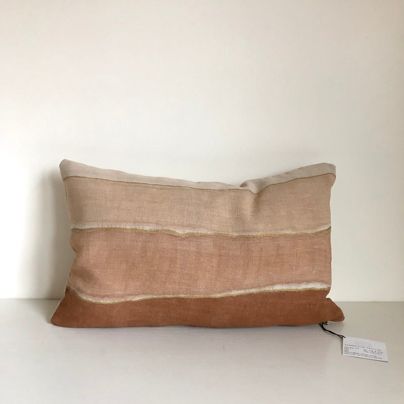 Clay Wave Gradient with Metallic Gold Lumbar Pillow Cover