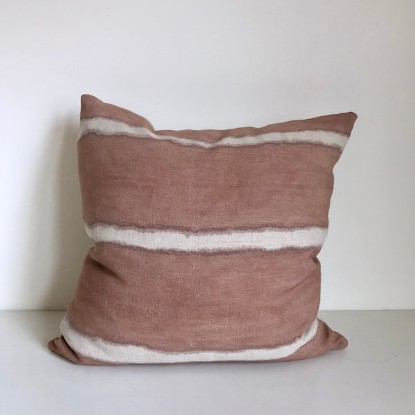 Madder Rose Wide Striped Hemp Pillow