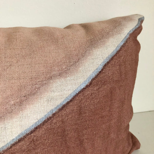 "Madder Rose Fault with Metallic Silver 14x22"" Pillow"