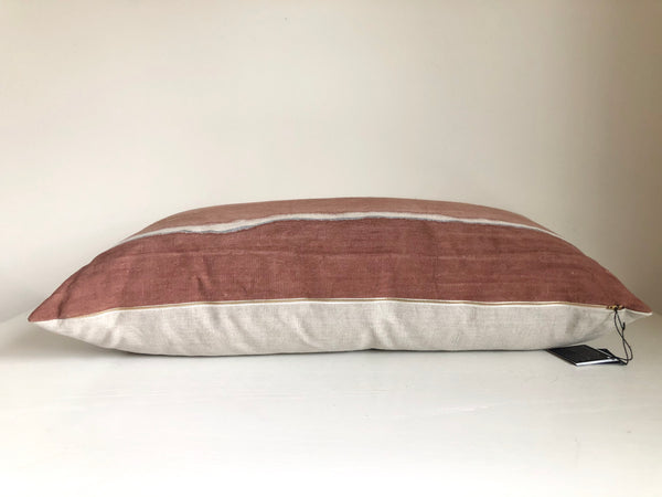 Madder Rose Gradient with Metallic Silver Pillow Cover