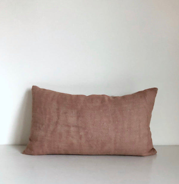 Madder Rose Solid Wash Lumbar Pillow