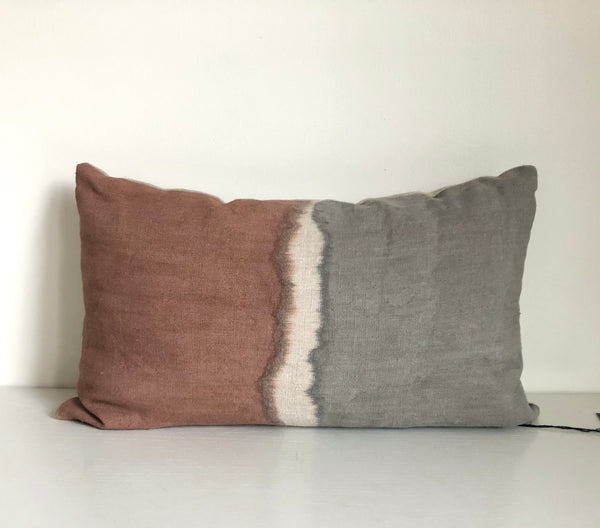 "Madder Rose & Charcoal Colorblock 14x22"" Pillow Cover"